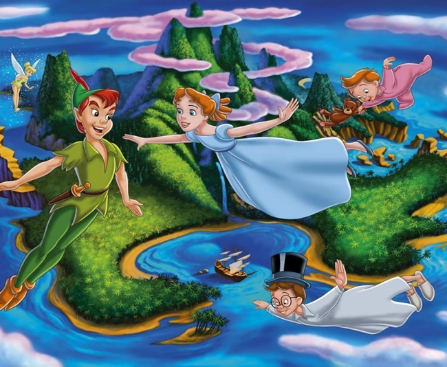 Peter Pan volando con Wendy y sus hermanos