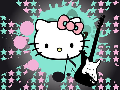 Hello Kitty en fondo de estrellas con guitarra