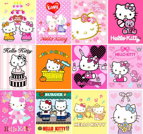 Collage de posters de Hello Kitty