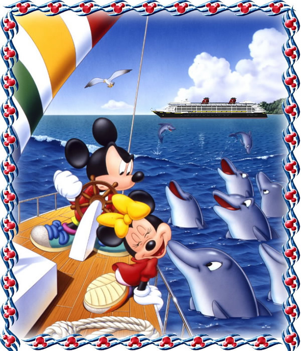 Mickey Mouse y Minnie con delfines en...