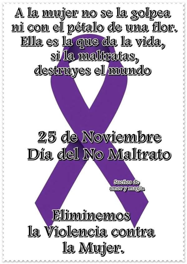 25 de Noviembre, Día del No Maltrato. Eliminemos la Violencia contra la Mujer