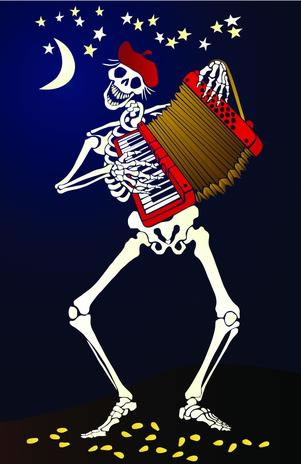 Esqueleto tocando el acordeón