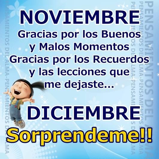 Noviembre, gracias por los buenos y malos momentos. Diciembre Soprendeme!
