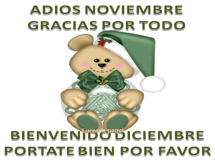 Adiós Noviembre, Gracias por todo, Bienvenido Diciembre