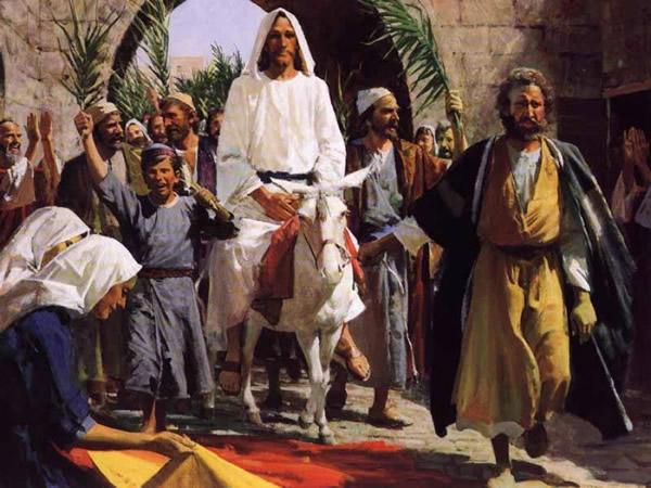Pintura de Jesús en Domingo de ramos