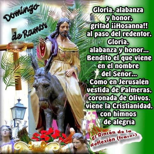 Gloria, alabanza y honor, gritad ¡¡Hosanna!! al paso del redentor