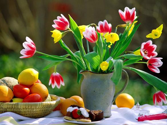 Tulipanes en una jarra