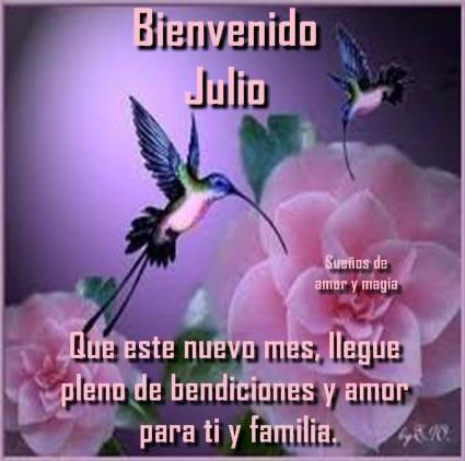 Bienvenido Julio. Que este nuevo mes, llegue pleno de bendiciones y amor para ti y familia