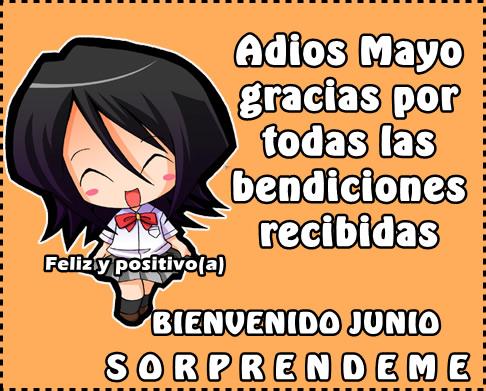 Adios Mayo, gracias por todas las bendiciones recibidas. Bienvenido Junio! Sorpréndeme!