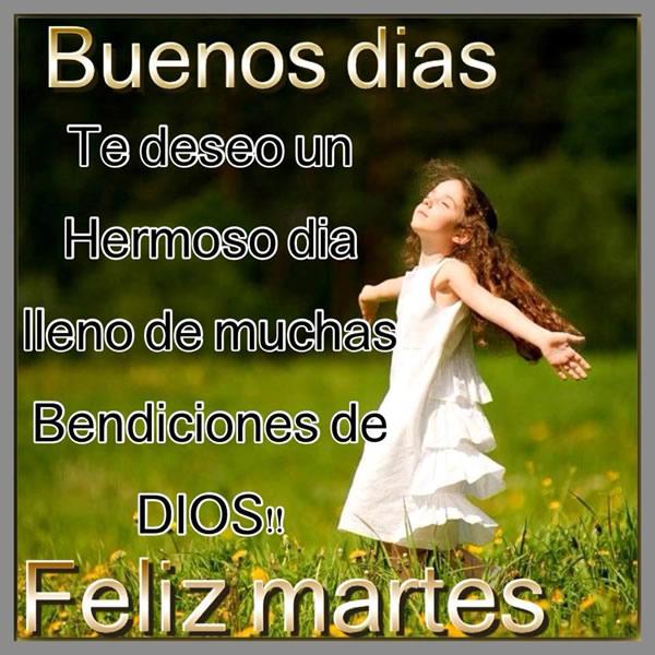 Buenos días, Te deseo un hermoso día lleno de muchas bendiciones de Dios! Feliz martes