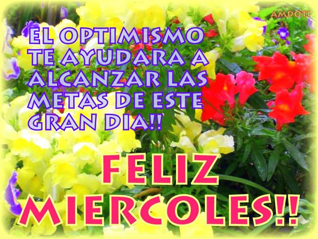 El optimismo te ayudará alcanzar las metas de este gran día! Feliz Miercoles!