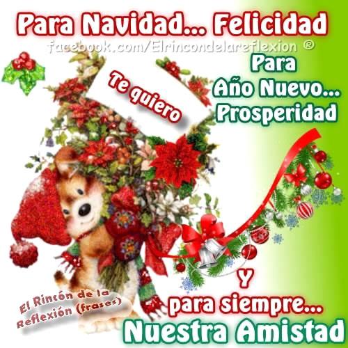Para Navidad... Felicidad. Para Año Nuevo... Prosperidad. Y para siempre... Nuestra Amistad