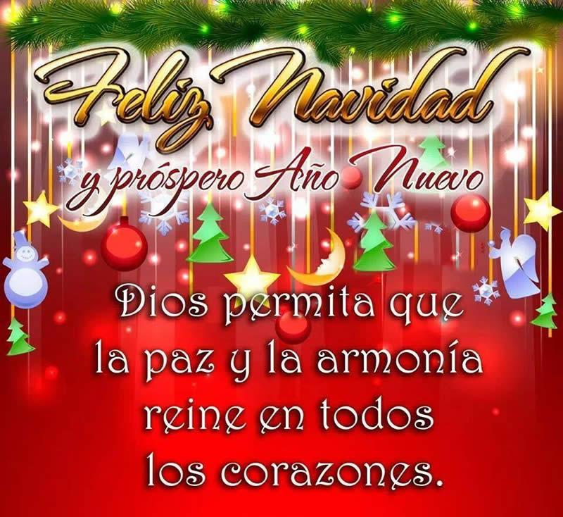 Feliz Navidad, Dios permita paz y armonía en los corazones
