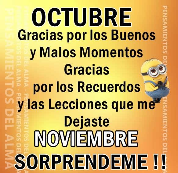 Octubre, gracias por los buenos y malos momentos. Noviembre, Sorprendeme!