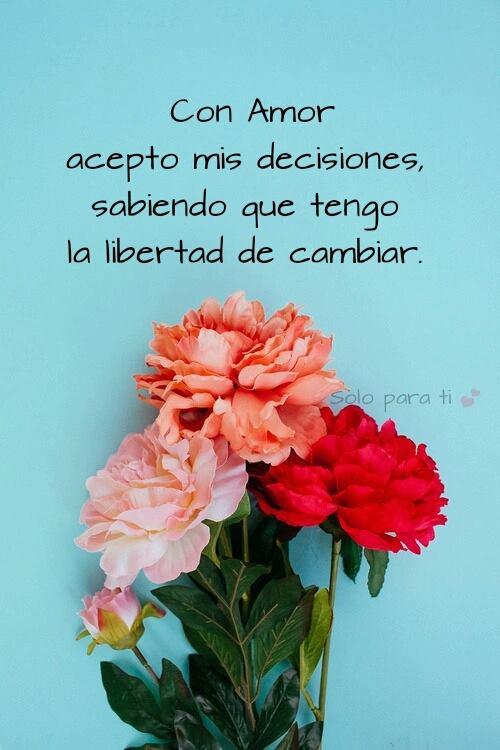 Con Amor acepto mis decisiones, sabiendo que tengo la libertad de cambiar
