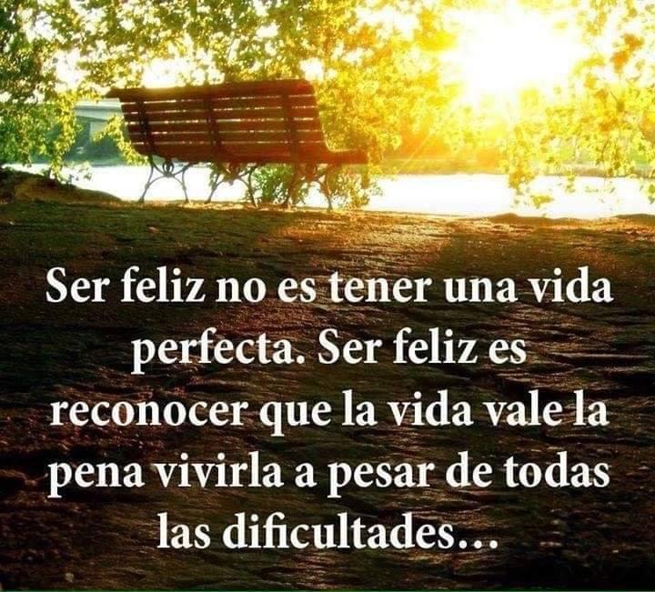 Ser feliz no es tener una vida perfecta...