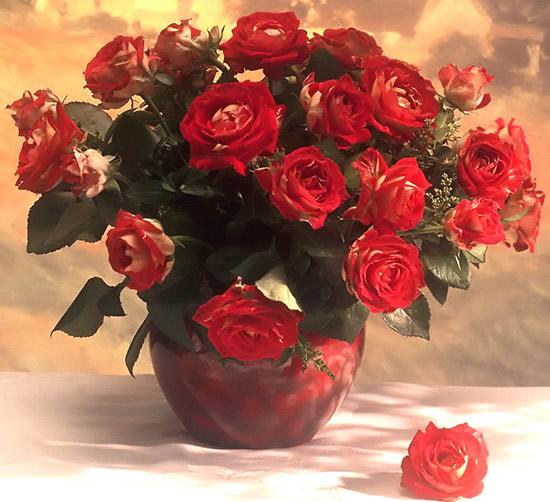 Cuadro de rosas rojas