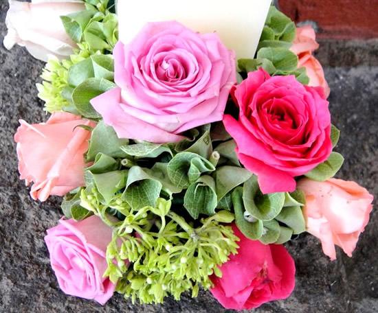 Bonita postal de ramo de rosas