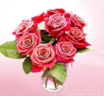 Brillante ramos de rosas