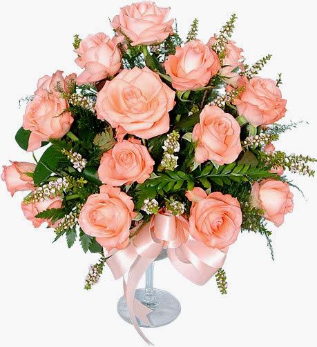 Ramo de rosas en copa de cristal